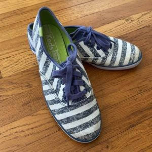 Keds Blue and White Striped Shoes Size 6.5